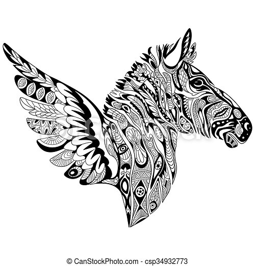 stilizzato, zentangle, zebra, ali - csp34932773