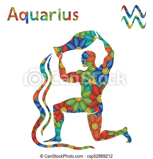 Disegno Acquario Segno Zodiacale.Stilizzato Zodiaco Acquario Fiori Segno