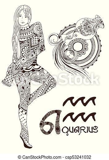 Disegno Acquario Segno Zodiacale.Stilizzato Zodiaco Acquario Segno