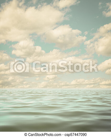 still calm sea or ocean water surface aged photo background - csp57447090