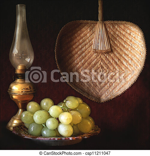 Still life, grapes, oil lamp and fan - csp11211047