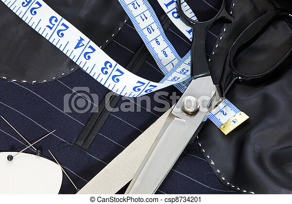Still life hand stitched suit lining. - csp8734201
