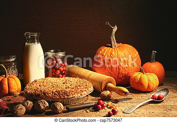 Still life of autumn fruits and and crumble pie - csp7573047