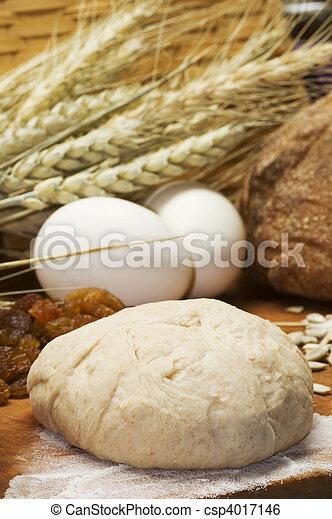 still life of bread preparing - csp4017146