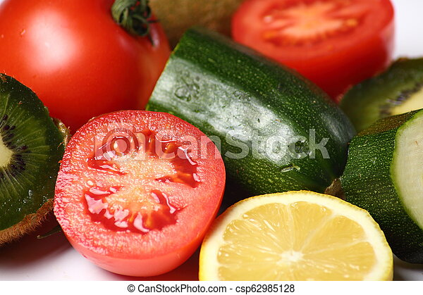 Still life of fruits and vegetables on white background - csp62985128