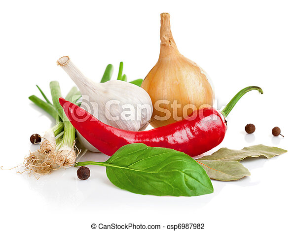 still life of garlic onion pepper and spice - csp6987982