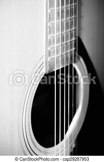 Still Life Part Of Guitar Black And White Color Tone Style Still