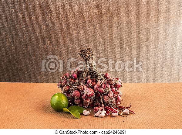 Still life Vegetables on wooden table - csp24246291