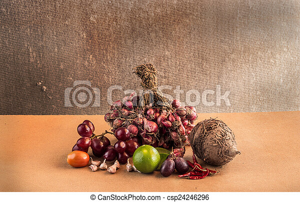 Still life Vegetables on wooden table - csp24246296