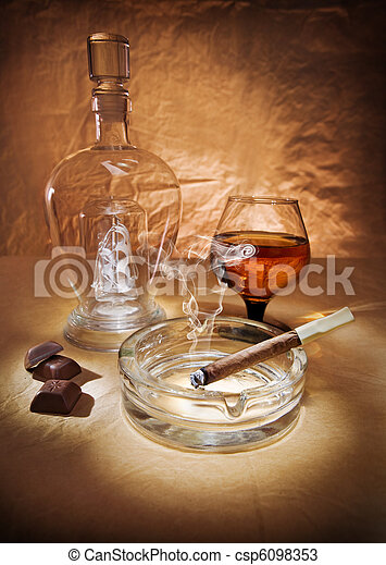 still life with cigar and cognac - csp6098353