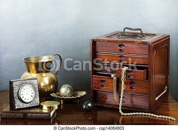 Still life with jewel case and objects - csp14084803