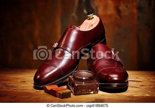 Still life with men's leather shoes and accessories for shoes ca - csp41884675