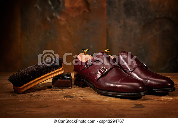 Still life with men's leather shoes and accessories for shoes care - csp43294767