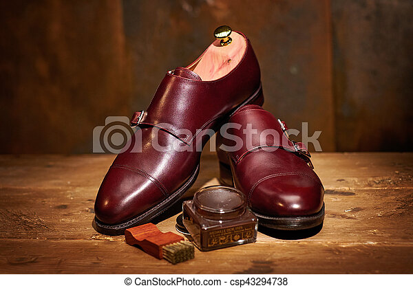 Still life with men's leather shoes and accessories for shoes care - csp43294738