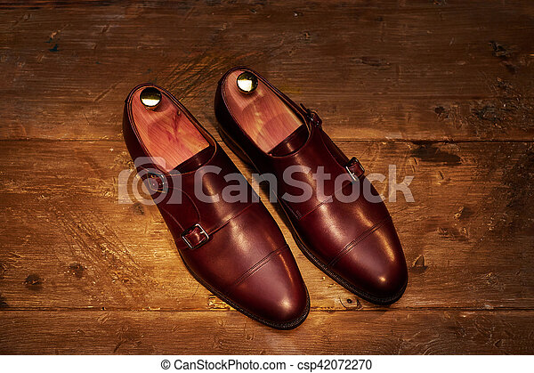Still life with men's leather shoes. - csp42072270