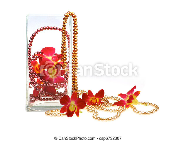 still life with orchids and pearl beads - csp6732307