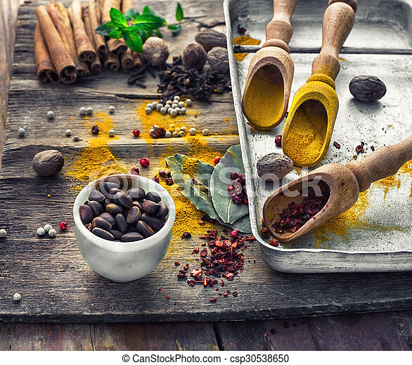 Still life with spices and herbs - csp30538650