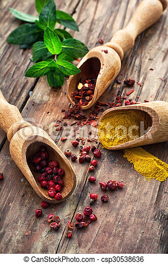 Still life with spices and herbs - csp30538636