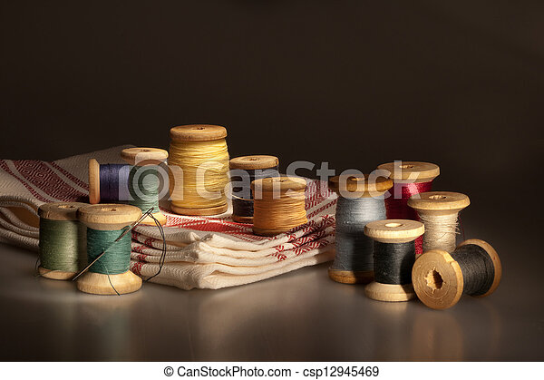 Still life with thread spools - csp12945469