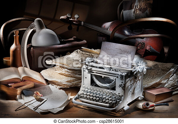 Still Life With Typing Machine And Cello - csp28615001