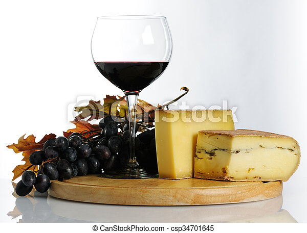 Still life with wine and cheese - csp34701645