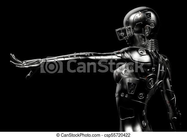 3D Illustration. Stylish Cyborg die Frau. - csp55720422