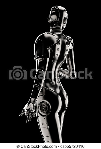 stilvoll, cyborg, 3d, illustration., woman. - csp55720416