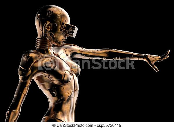 3D Illustration. Stylish Cyborg die Frau. - csp55720419