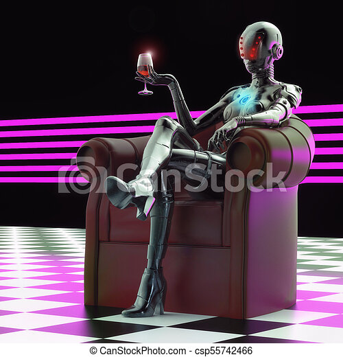 stilvoll, cyborg, 3d, illustration., woman. - csp55742466