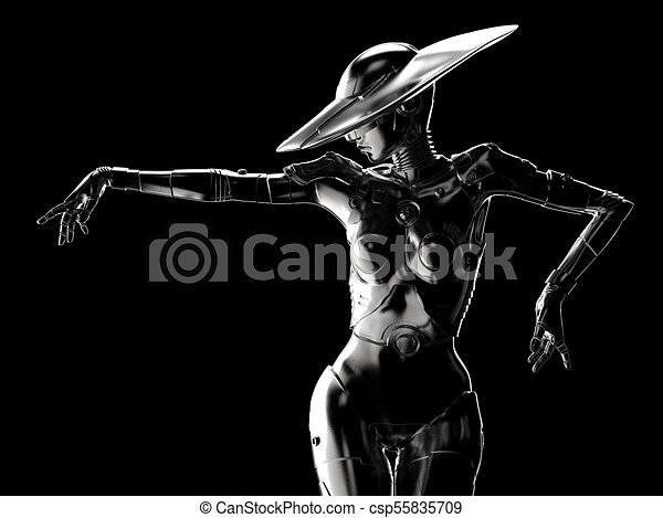 stilvoll, cyborg, 3d, illustration., woman. - csp55835709