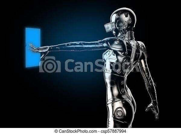stilvoll, cyborg, 3d, illustration., woman. - csp57887994