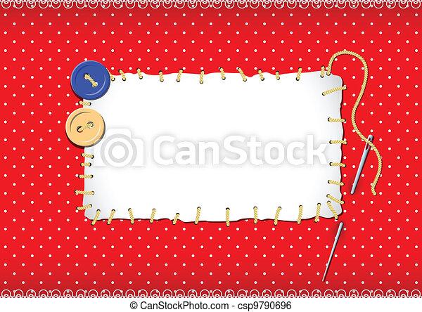 stitched, botões, agulha, remendo - csp9790696