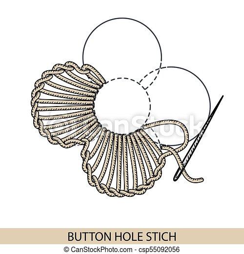 Stitches boton agujero vector de tipo stich. Colección de bordado de mano de hilo y puntos de costura. El vector ilustra los ejemplos de sutura. - csp55092056