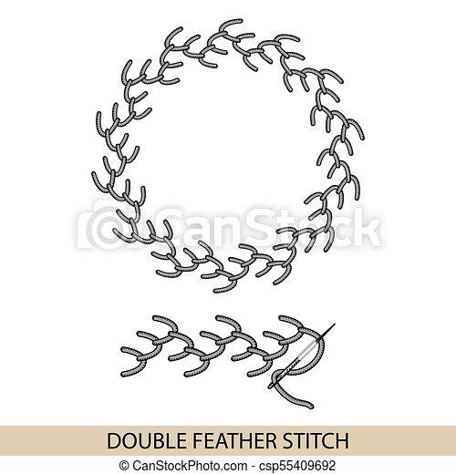 Puntos DOBLE TIPO DE TIPO DE TIPO FEATHER. Colección de bordado de mano de hilo y puntos de costura. El vector ilustra los ejemplos de sutura. - csp55409692