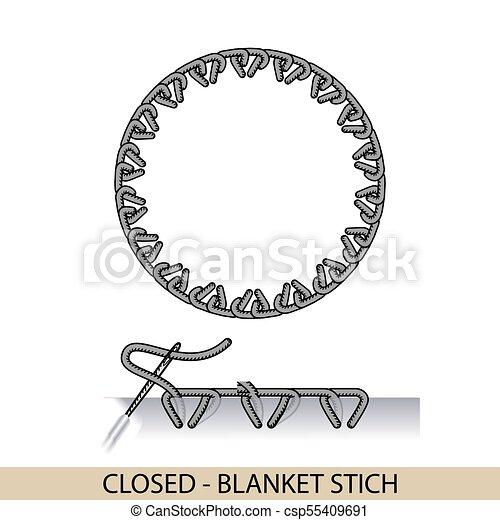 Puntos cerrados: vector de tipo de BLANKET. Colección de bordado de mano de hilo y puntos de costura. El vector ilustra los ejemplos de sutura. - csp55409691