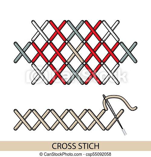 Los puntos cruzan vector de tipo stich. Colección de bordado de mano de hilo y puntos de costura. El vector ilustra los ejemplos de sutura. - csp55092058