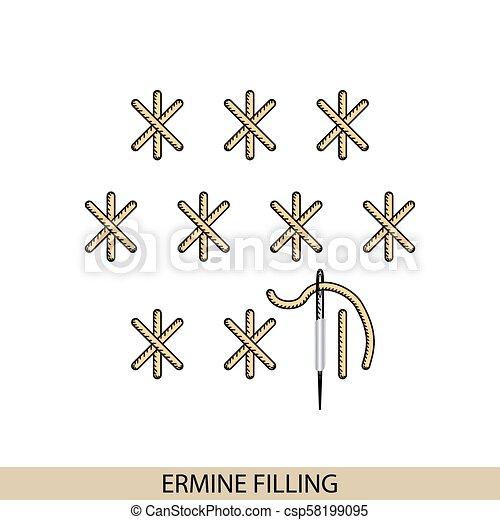 Stitches armines relleno de vector de tipo stich. Colección de bordado de mano de hilo y puntos de costura. El vector ilustra los ejemplos de sutura. - csp58199095