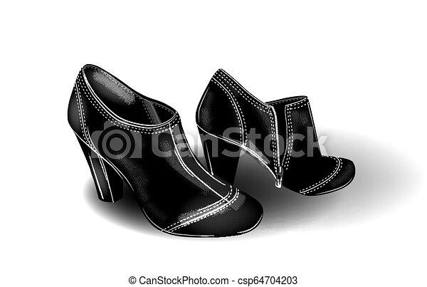 Botas de tobillo con tacones negros con puntos blancos. ¿La chica de la moda? icono de zapatos. - csp64704203