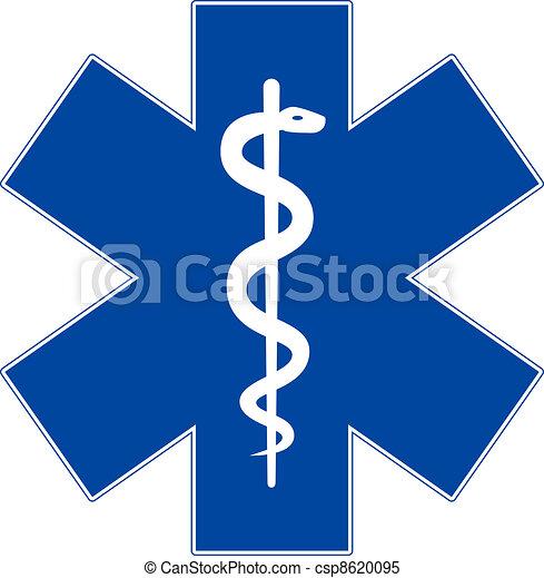 stjerne, nødsituation, isoleret, symbol, medicin, hvid, liv - csp8620095