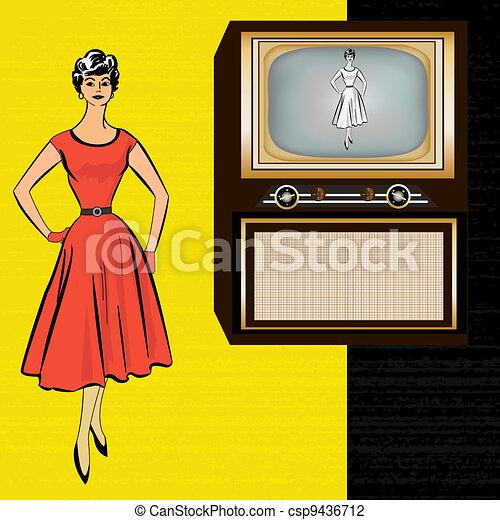 stle, televisão, 1950's, retro, fundo, elegante, senhora - csp9436712
