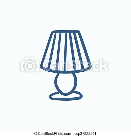 stołowa lampa, rys, icon. - csp37822941