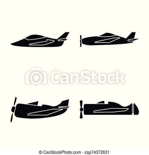 stock., avión, icon., vector, colección, navegación, ilustración, transporte, icono - csp74372631