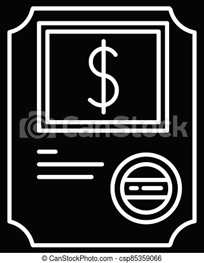 Stock certificate black glyph icon - csp85359066