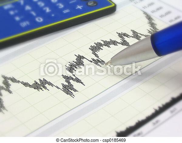 Stock chart, calculator and pen - csp0185469