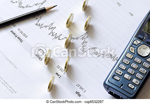 Stock chart with a pencil, a telephone and coins - csp6532287