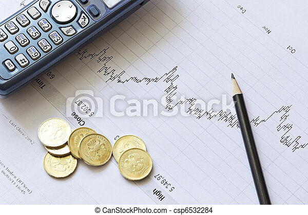 Stock chart with a pencil, a telephone and coins - csp6532284