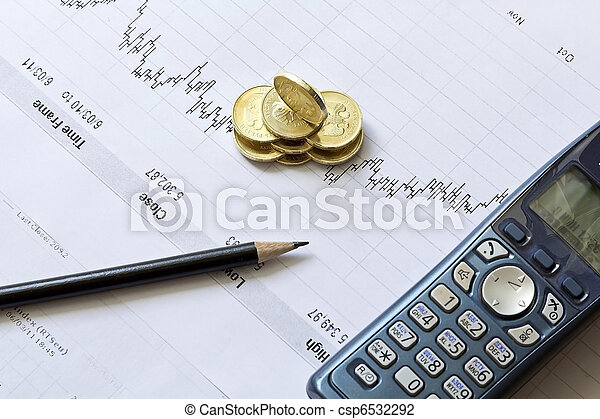 Stock chart with a pencil, a telephone and coins - csp6532292