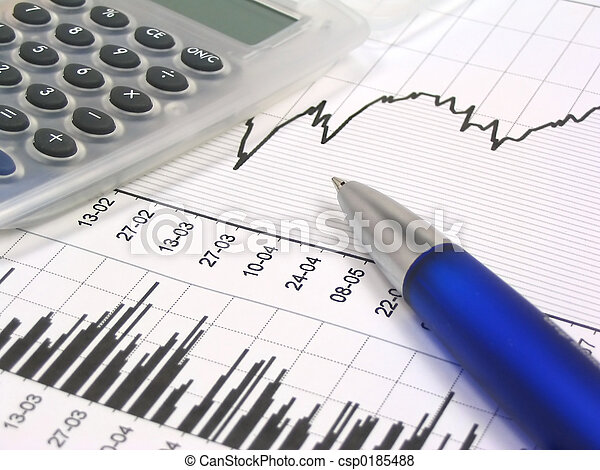 Stock chart with calculator and pen - csp0185488