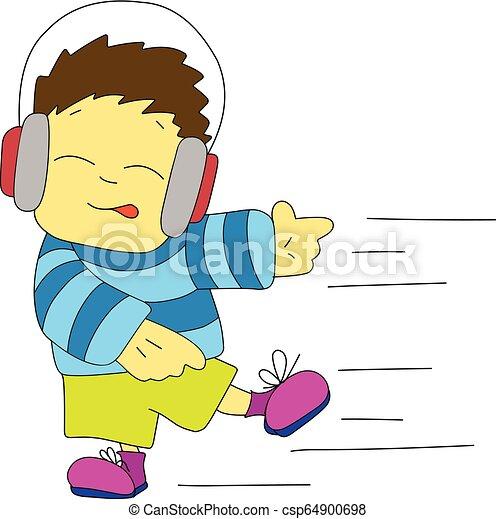 Stock Illustration Dancing Boy in Headphones - csp64900698