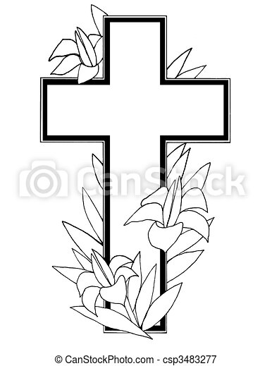 stock illustration of easter cross useful black and white stock rh canstockphoto com easter cross clipart easter cross clipart black and white